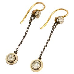 Edwardian 18 Carat Gold Diamond Dangle Earrings