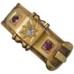 Edwardian 18 Carat Gold Old Cut Diamond Ruby Buckle Band Ring