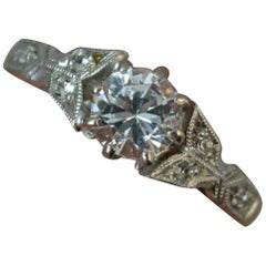 Edwardian 18 Carat Gold Palladium White Sapphire Ring