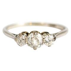 Edwardian 18 Carat Gold and Platinum Diamond Three-Stone Ring