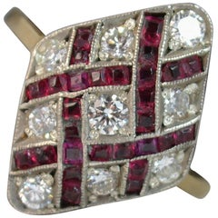 Edwardian 18 Carat Gold Ruby and Diamond Navette Cluster Ring d0294
