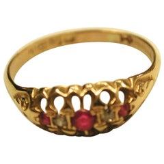 Edwardian 18 Carat Gold Ruby and Diamond Ring, Dated 1908, Birmingham