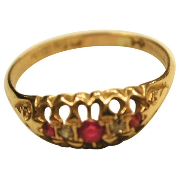Edwardian 18 Carat Gold Ruby and Diamond Ring, Dated 1908, Birmingham