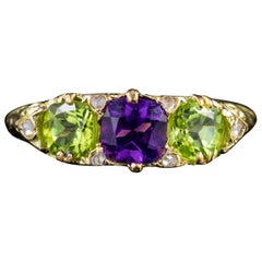 Edwardian 18 Carat Gold Suffragette Ring Peridot Amethyst Diamond, circa 1915