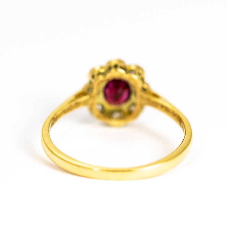 Edwardian 18 Carat and Platinum Ruby and Diamond Cluster Ring In Good Condition For Sale In Chipping Campden, GB