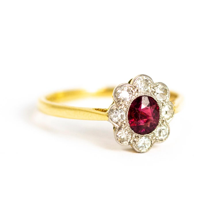 Edwardian 18 Carat and Platinum Ruby and Diamond Cluster Ring For Sale 1