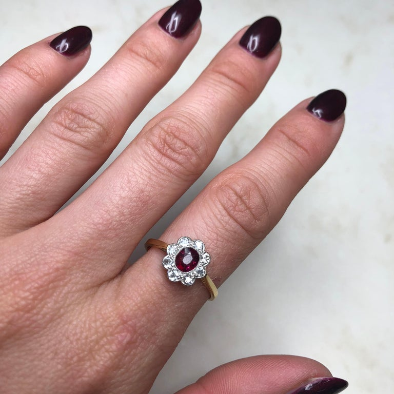 Edwardian 18 Carat and Platinum Ruby and Diamond Cluster Ring For Sale 3