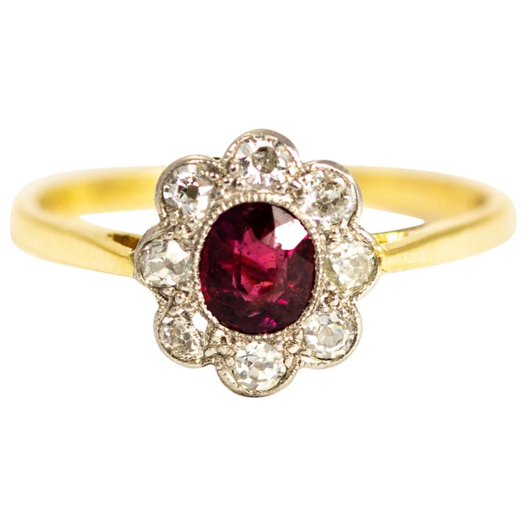 Edwardian 18 Carat and Platinum Ruby and Diamond Cluster Ring For Sale