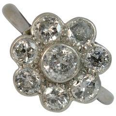 Edwardischer 18 Karat Weißgold und Platin 2,10 Karat Daisy Cluster Diamantring