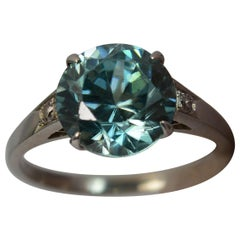 Edwardian 18 Carat White Gold Blue Zircon and Diamond Ring