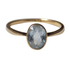 Edwardian 18 Karat Gold and Aquamarine Solitaire Ring