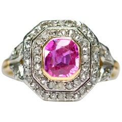Edwardian 18 Karat Gold and Platinum Pink Sapphire Rose Diamond Cluster Ring