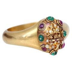 Edwardian 18 Karat Gold Bangle King Edward Queen Alexandra Rubies Emeralds