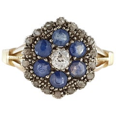Edwardian 18 Karat Gold Diamond and Blue Sapphire Cluster Ring