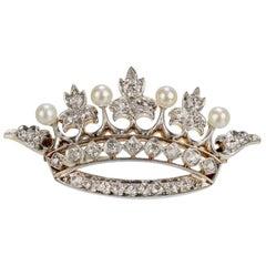 Edwardian 18 Karat Gold, Diamond and Pearl Crown Brooch or Pin