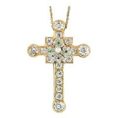 Edwardian 18 Karat Gold Old Diamond Tsavorite Pearl Cross Pendant Necklace