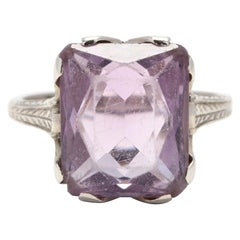 Edwardian 18 Karat White Gold Amethyst Ring