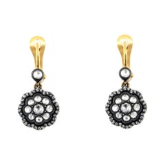 18 Karat Yellow Gold and 0.67 Ct Rose Cut Diamond Dangle Earrings