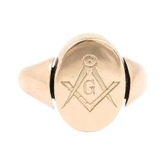 Edwardian 18 Karat Yellow Gold Masonic Swivel Signet Ring, Circa 1910