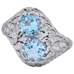 Edwardian 1.80 Carat Aquamarine Diamond Platinum Toi et Moi Ring