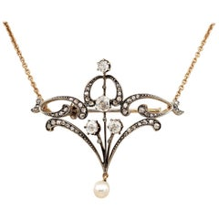 Edwardian 1.80 Carat Diamond Natural Pearl Lavaliere Necklace Brooch of Beauty