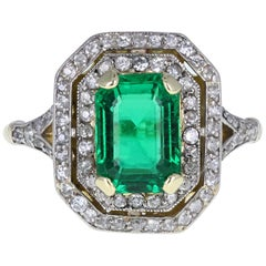 Edwardian 18 Carat Gold Certificated Minor Oil Colombian Emerald Diamond Ring