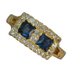 Edwardian 18 Carat Gold Sapphire Old Cut Diamond Panel Ring