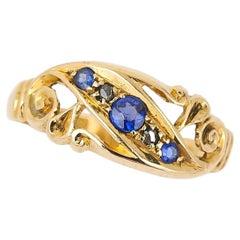 Edwardian 18ct Yellow Gold Sapphire and Diamond Gypsy Ring, circa 1913