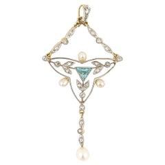 Edwardian 18k Gold and Platinum Aquamarine Diamond Pearl Pendant, Circa 1910