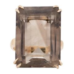 Edwardian 18k Yellow Gold Emerald Cut Smokey Topaz Vintage Statement Ring