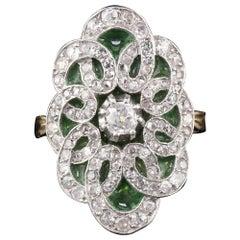 Edwardian 18 Karat Gold Platinum Plique-à-Jour Enamel and Diamond Shield Ring
