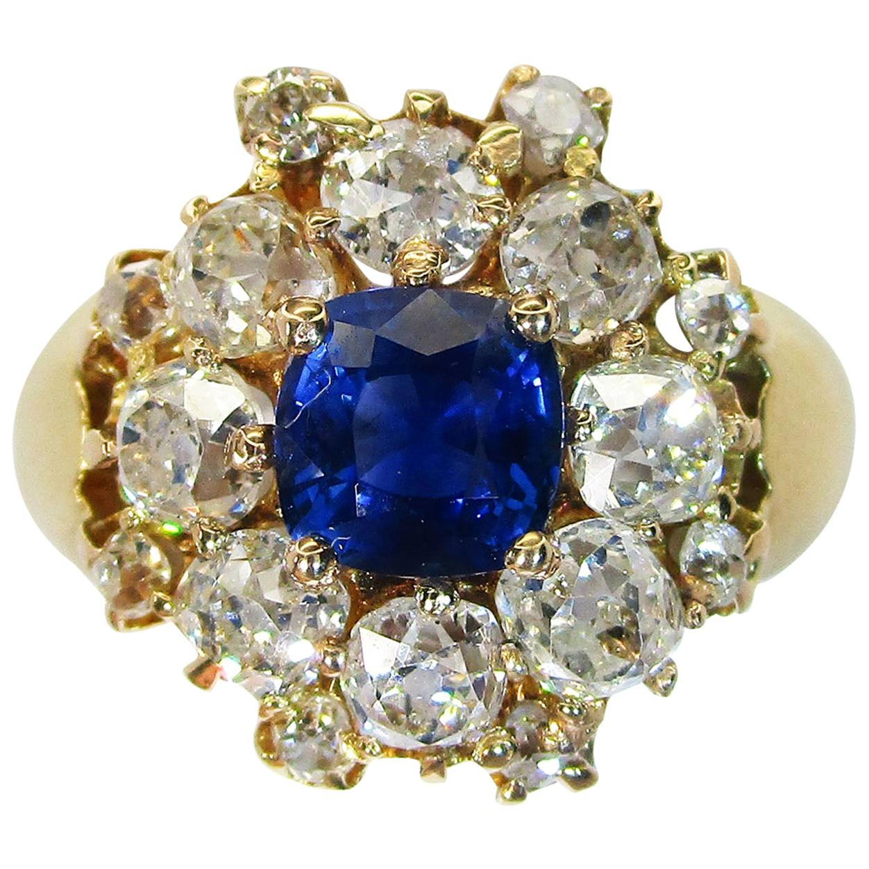 Edwardian 18 Karat Yellow Gold Sapphire and Diamond Cocktail Ring