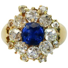 Edwardian 18 Karat Yellow Gold Sapphire and Diamond Cocktail Ring