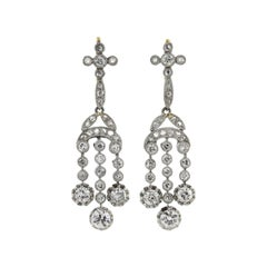 Edwardian 1.90 Total Carat Diamond Drop Earrings