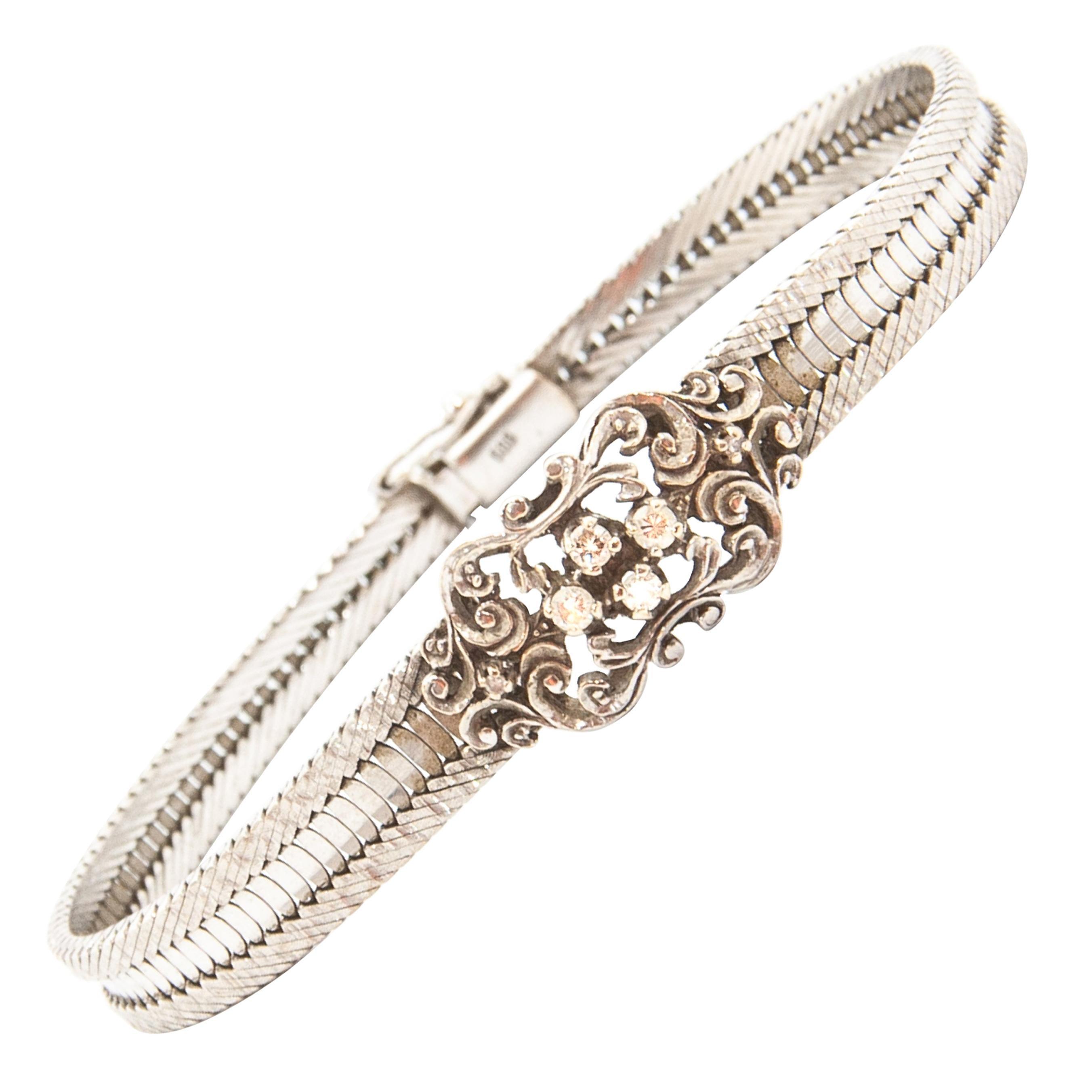 Edwardian White Gold Diamond Snake Chain Bracelet
