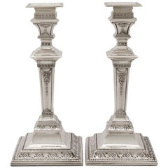 Edwardian 1901 Sterling Silver Candlesticks by Walter Latham & Son