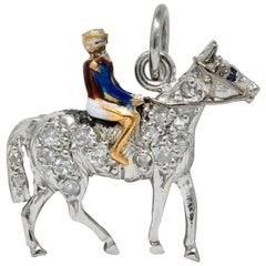 Edwardian 1920s Diamond Sapphire Enamel Gold Platinum Jockey on Horse Charm