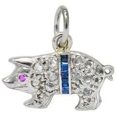 Edwardian 1920s Diamond Sapphire Ruby Platinum Pig Charm