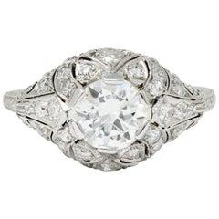Edwardian 1.95 Carat Diamond Platinum Scrolled Engagement Ring GIA