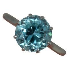 Edwardian 2 Carat Blue Zircon and Platinum Solitaire Ring