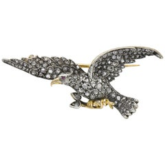 Edwardian 2.00 Carat Diamond Ruby Silver-Topped 14 Karat Gold Eagle Brooch