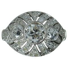 Edwardian 2.00 Carat Old Cut Diamond and Platinum Trilogy Bombe Cluster Ring