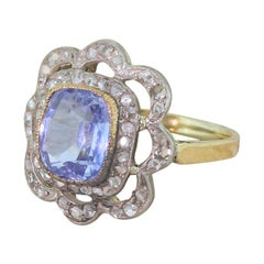 Edwardian 2.00 Carat Sapphire and 1.00 Carat Rose Cut Diamond Ring