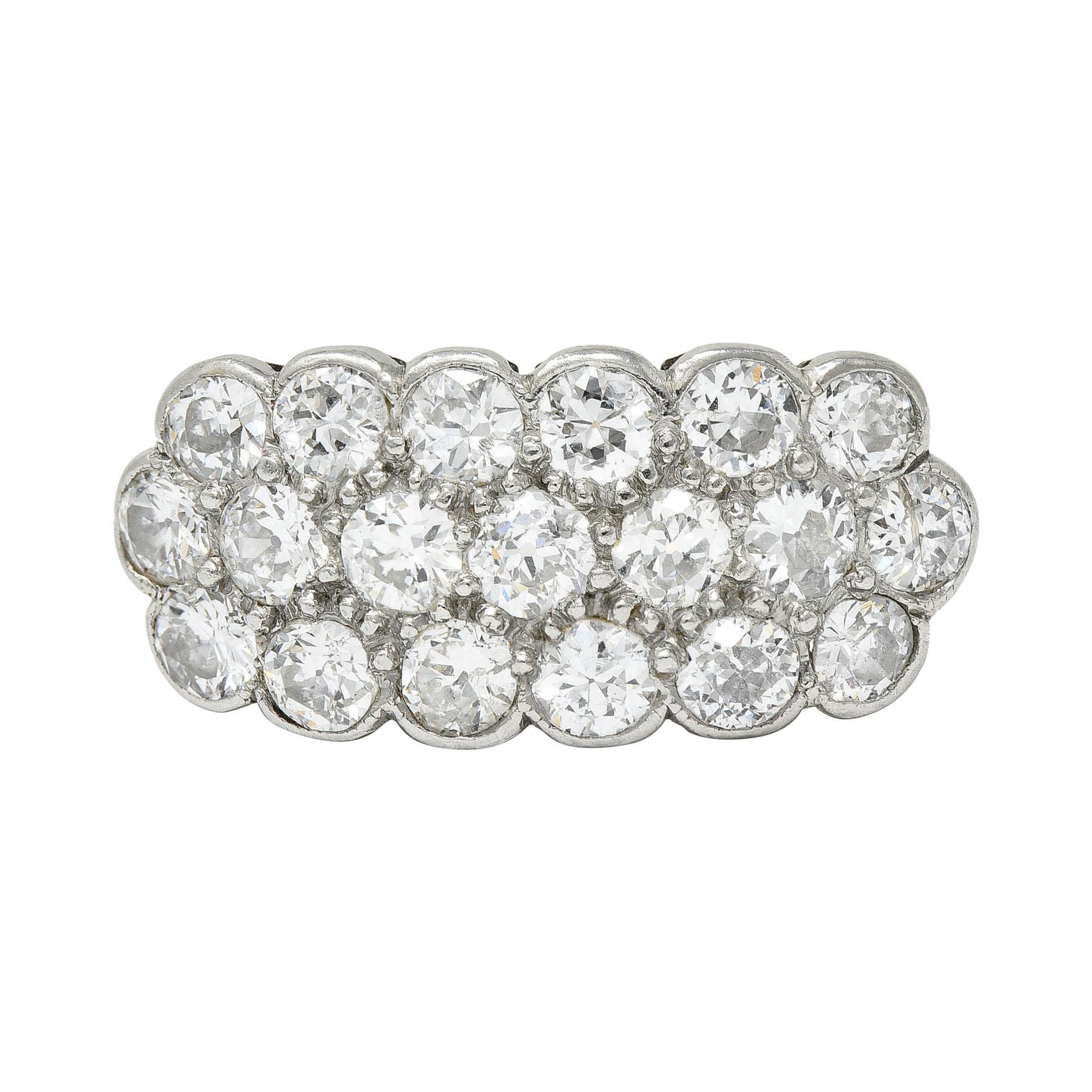 Edwardian 2.00 Carats Diamond Platinum-Topped 14 Karat Gold Cluster Band Ring