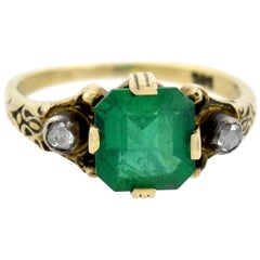 Edwardian 2.00 Total Carat Colombian Emerald and Diamond Ring