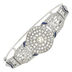 Edwardian 2.00 Total Carat Rose Cut Diamond and Sapphire Bangle Bracelet
