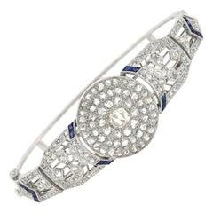 Edwardian 2.00 Total Carat Rose Cut Diamond and Sapphire Bangle Bracelet