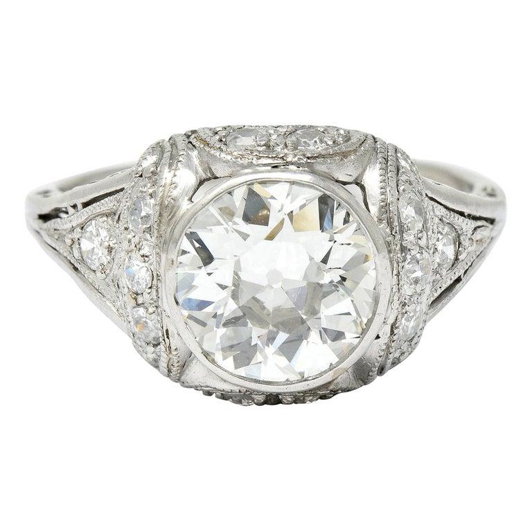 Edwardian 2.05 Carat Diamond Platinum Filigree Engagement Ring GIA For Sale