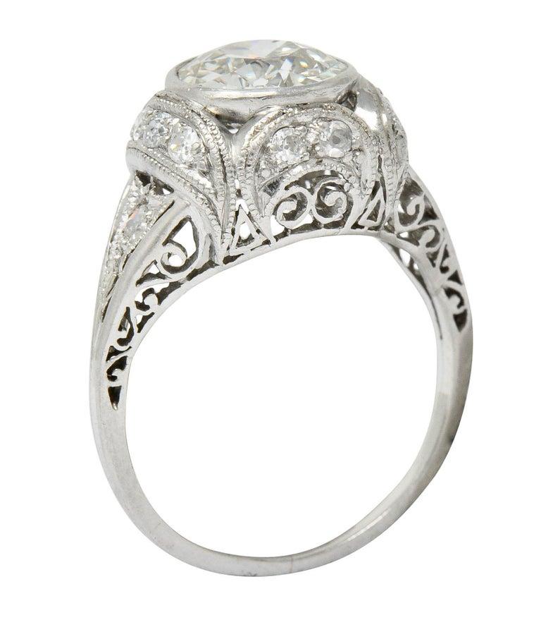 Edwardian 2.05 Carat Diamond Platinum Filigree Engagement Ring GIA For Sale 5