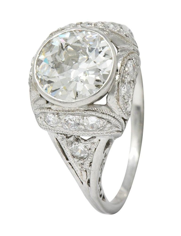 Edwardian 2.05 Carat Diamond Platinum Filigree Engagement Ring GIA For Sale 6